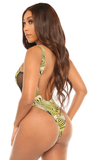 born wild swimsuit-green print - Icon