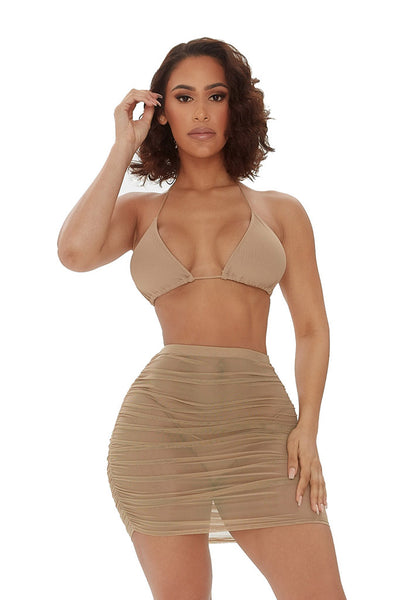 mesh behavior skirt set-beige - Icon