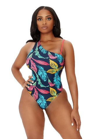 island cove swimsuit-multicolor leaf print