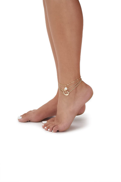 moon and star anklet set-gold - Icon