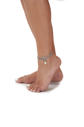 moon and star anklet set-silver - Icon