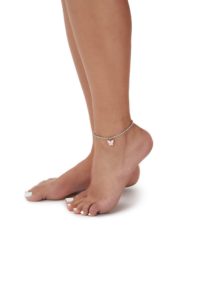 Rhinestone butterfly anklet-light pink - Icon