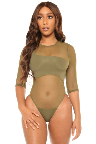 sheers to the weekend swimsuit- olive