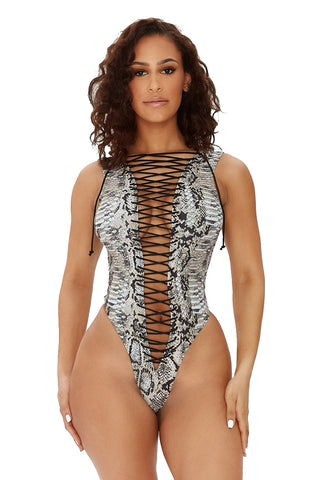 tie as i may swimsuit-snake print