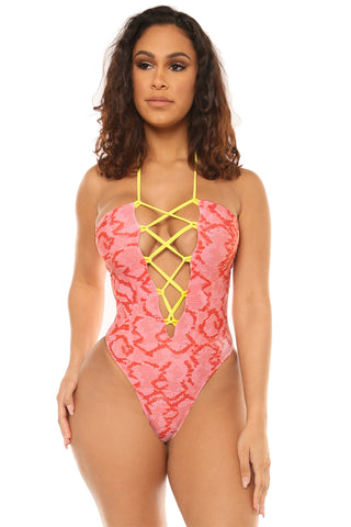 tie it off swimsuit-pink print - Icon