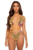 ties on the prize monokini-animal print - Icon