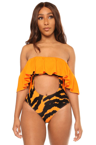 wilder the better swimsuit- orange print - Icon