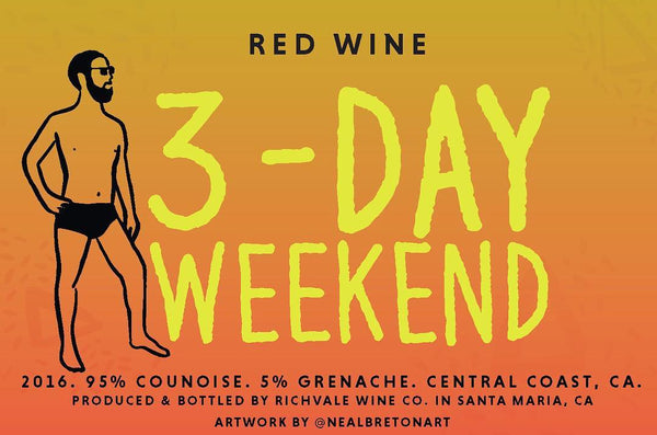 "Richvale Wine Compane ""3 Day Weekend"" Arroyo Grande Counoise 2016 4pk 250ml Cans"