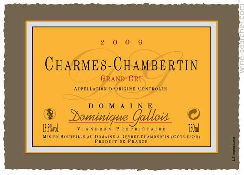 Dominique Gallois Charmes Chambertin Grand Cru 2012