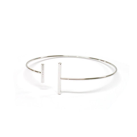 Double Bar Bangle - Silver