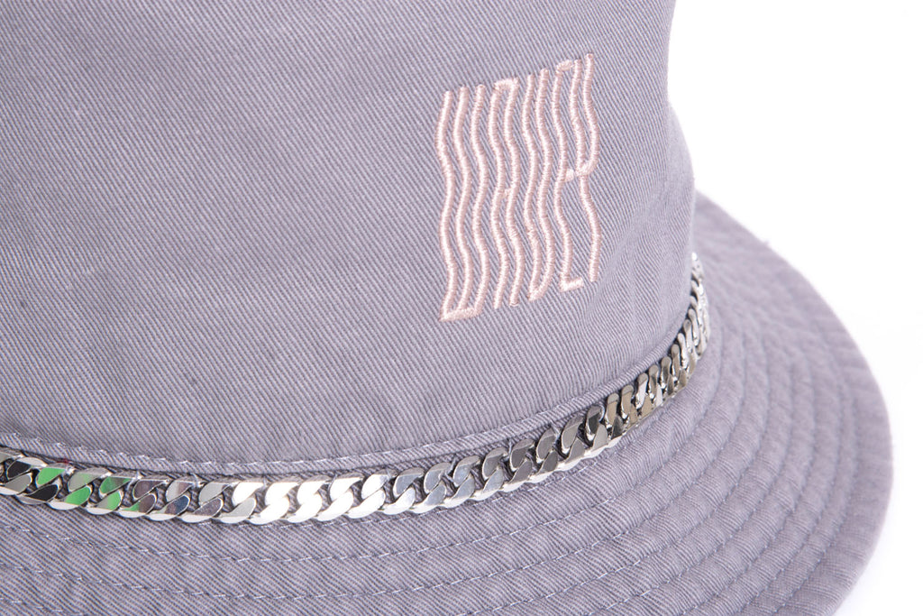 Cool Grey Baby Pink Chain Bucket Hat