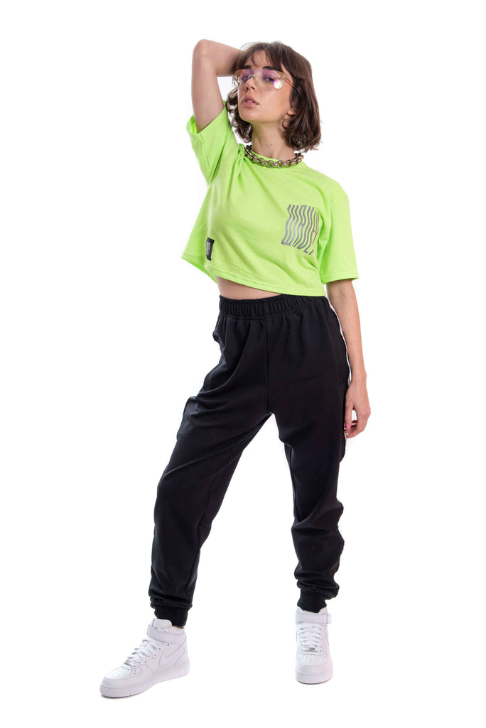 Neon Green Reflective Logo Crop Top