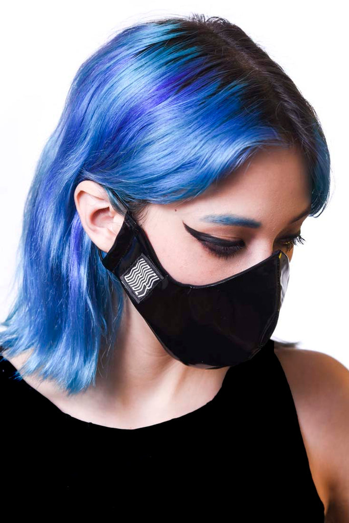 Black Latex Wavey Facemask