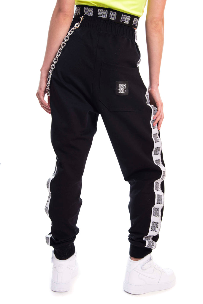 Midnight Black Reflective Logo Track Pants