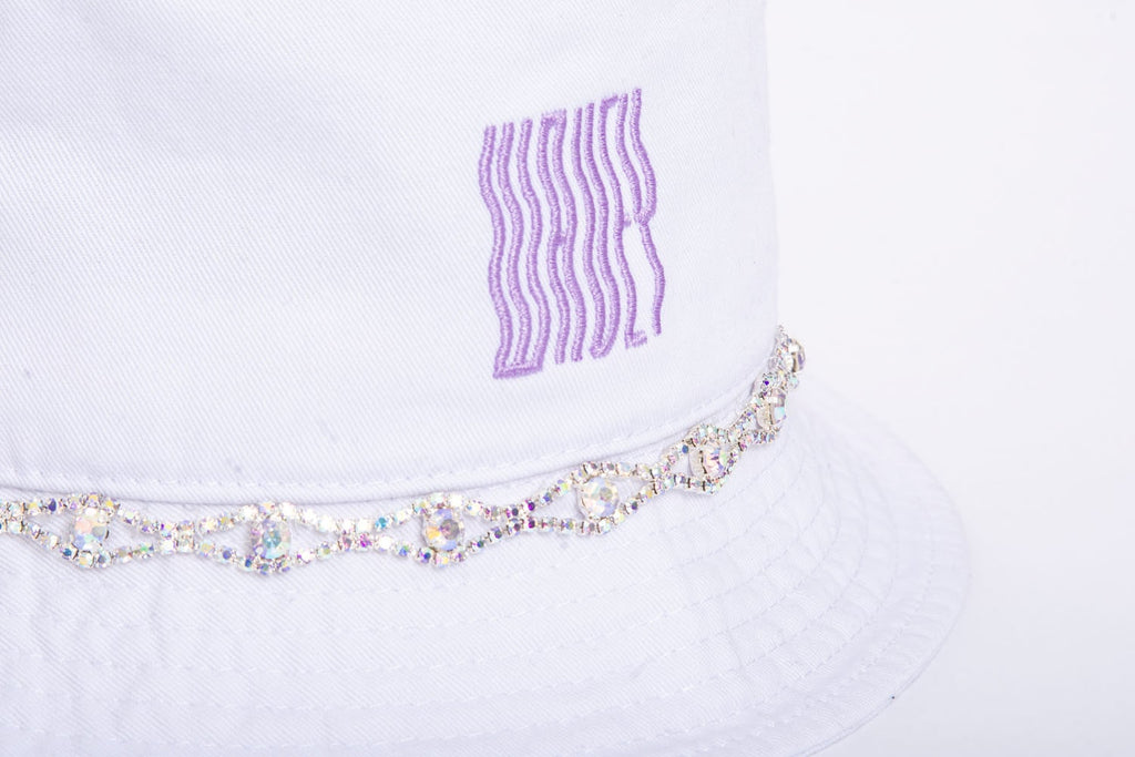 White Lilac Iridescent Embellished Bucket Hat