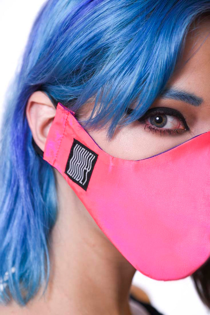 Neon Pink Wavey Facemask