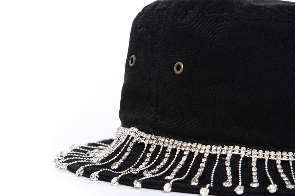 Black Lilac Embellished Bucket Hat