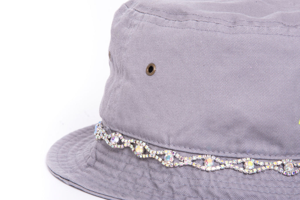 Cool Grey Neon Green Iridescent Embellished Bucket Hat