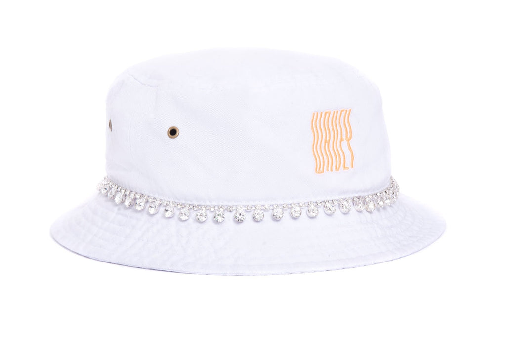 White Neon Orange Mini String Embellished Bucket Hat