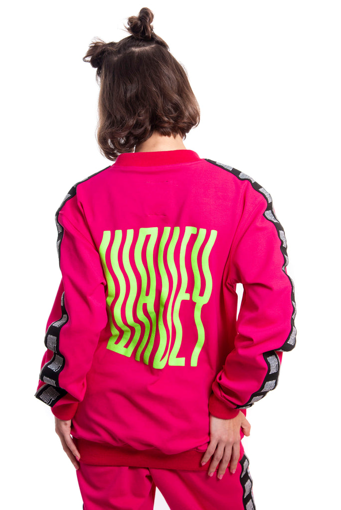 Magenta Track Sweater w/ Green Logo