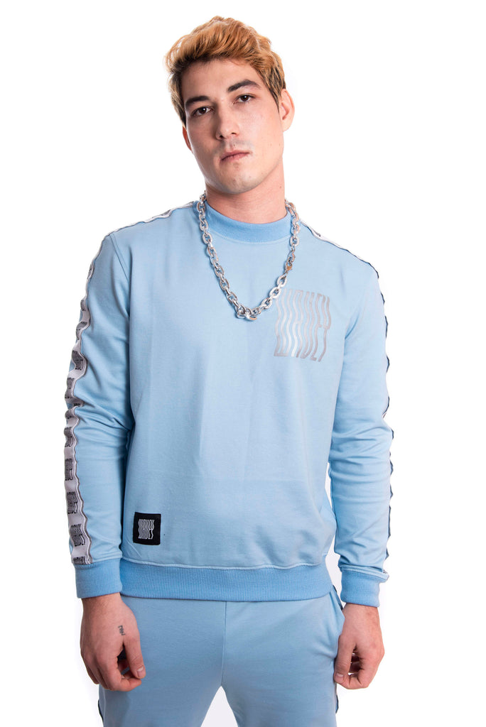 Baby Blue Reflective Logo Track Sweater