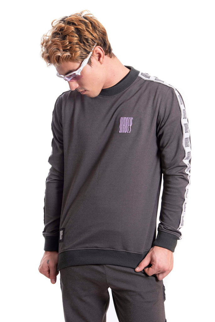Cool Grey/Lilac Logo Track Sweater