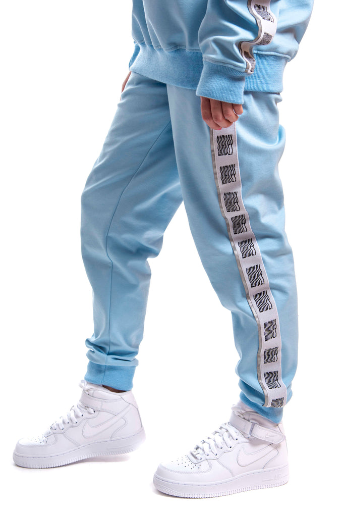 Baby Blue Reflective Logo Track Pants