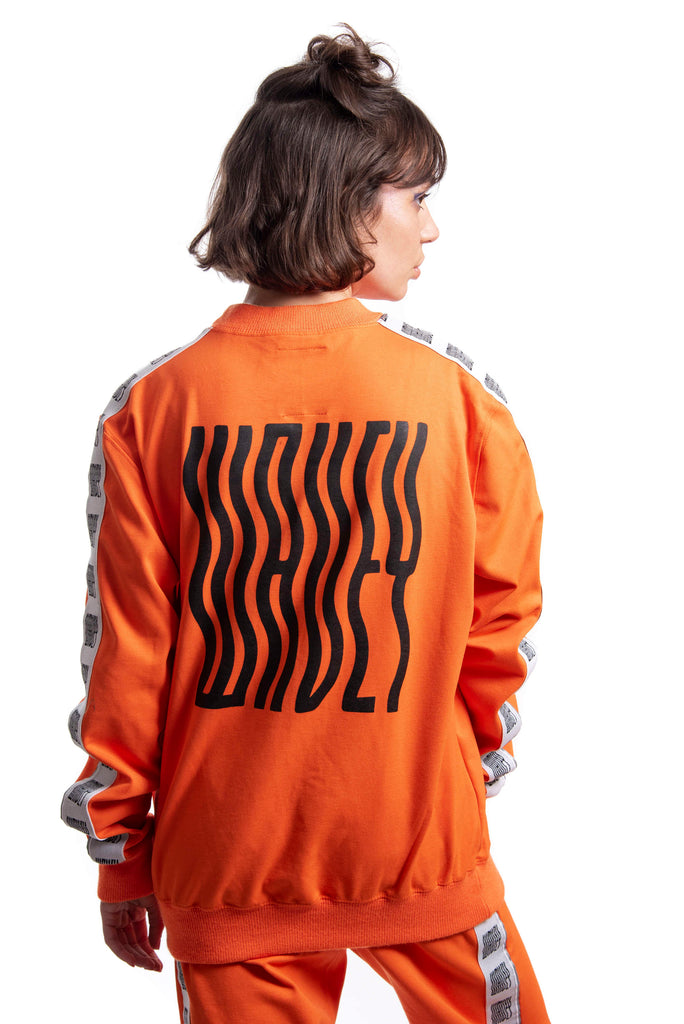 Industrial Orange Black Logo Track Sweater