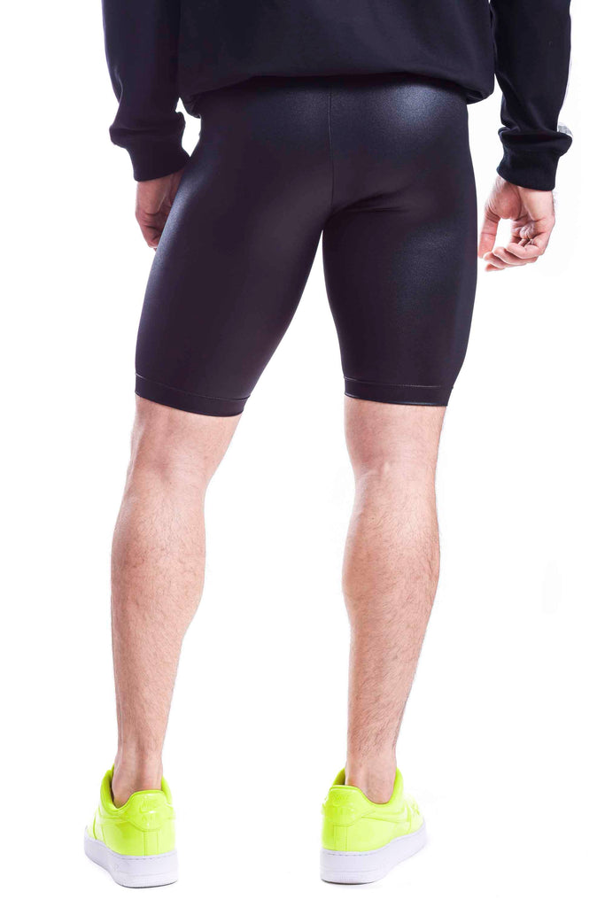 Shiny Black Biker Shorts