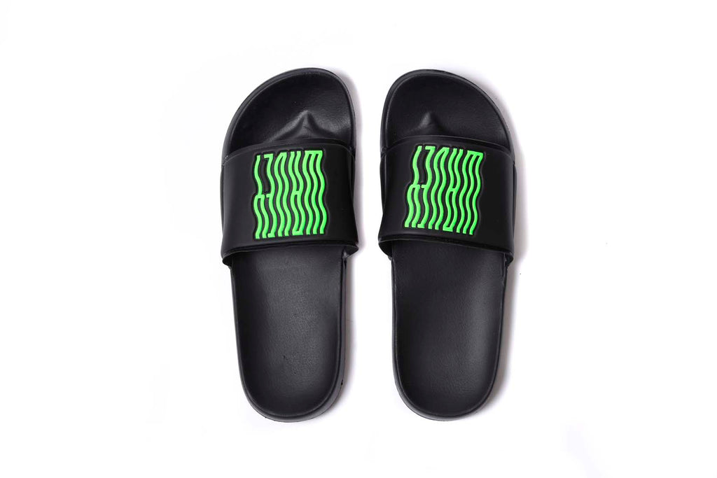 Black Neon Green Slides