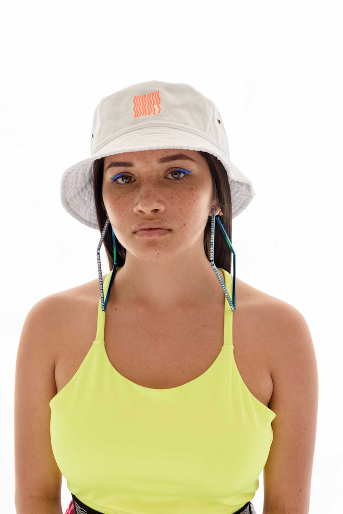 White Neon Orange Wavey Bucket Hat