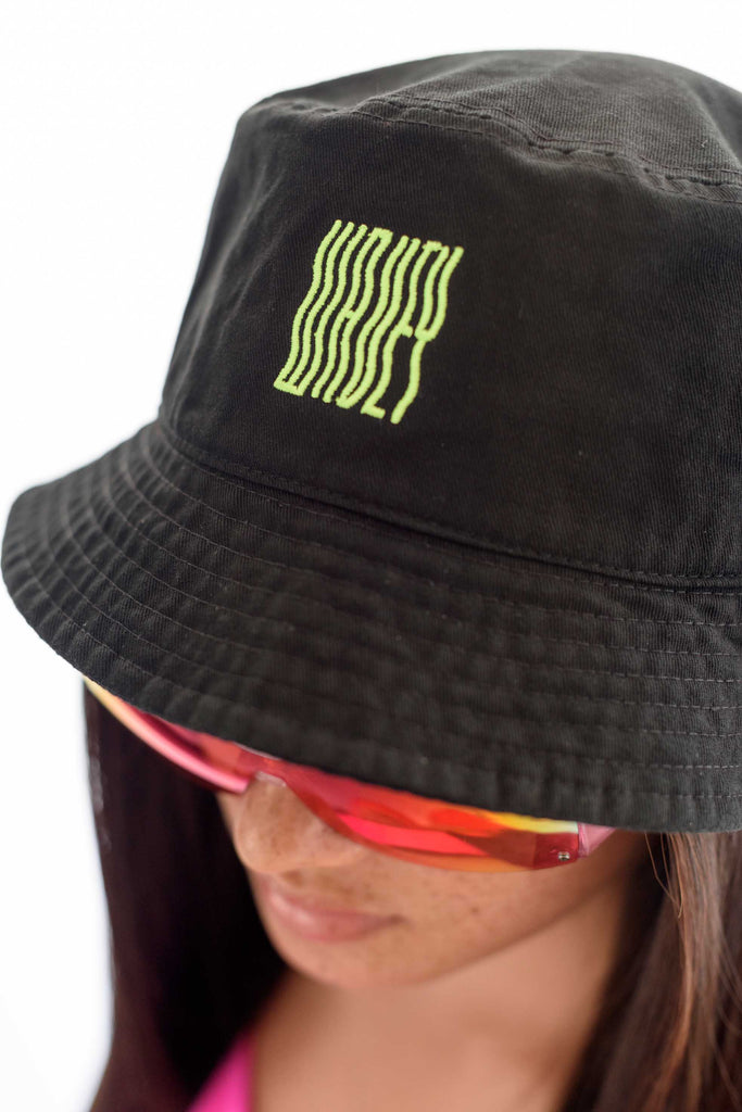 Black Neon Green Wavey Bucket Hat