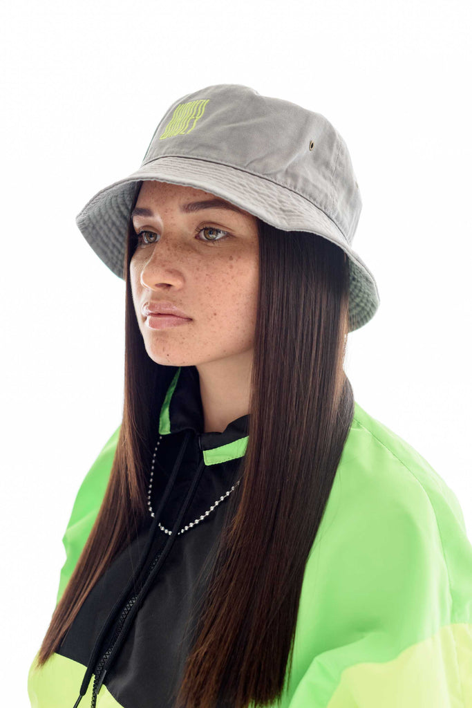 Grey Neon Green Wavey Bucket Hat