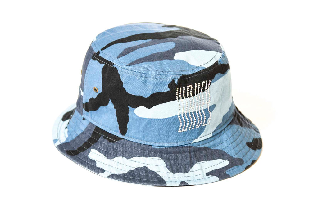 Blue camo - rhinestones bucket hat
