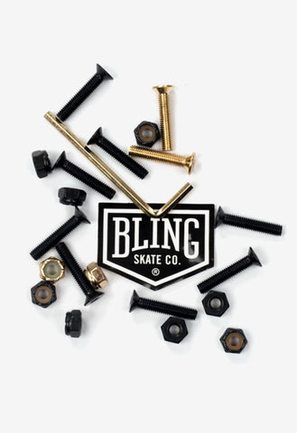 "Bling 1"" Deck Bolts / Black / Gold"