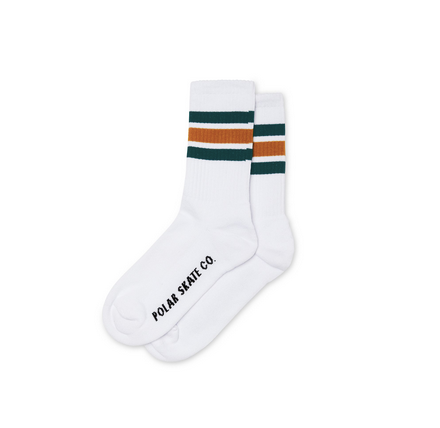 Polar Stripe Socks | White / Teal / Orange