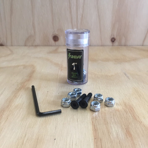 Sunday Hardware 1'' Deck Bolts black - 335 Skate Supply