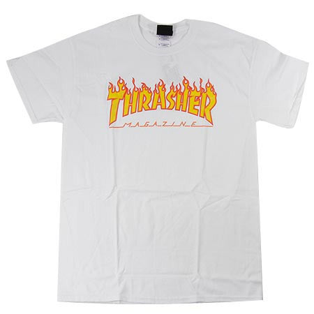 Thrasher Flame Logo Tee White - 335 Skate Supply