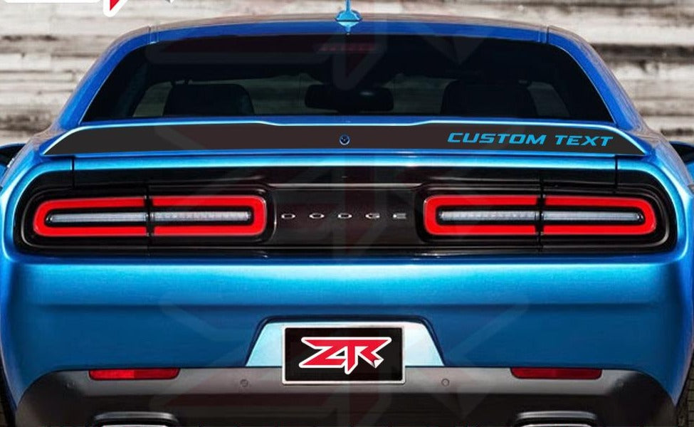2015-2018 Dodge Challenger Custom Text  Spoiler Blackout Decal