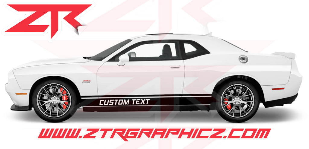 Dodge Challenger Custom Text Double Rocker Panel Stripes Vinyl Graphics Kit