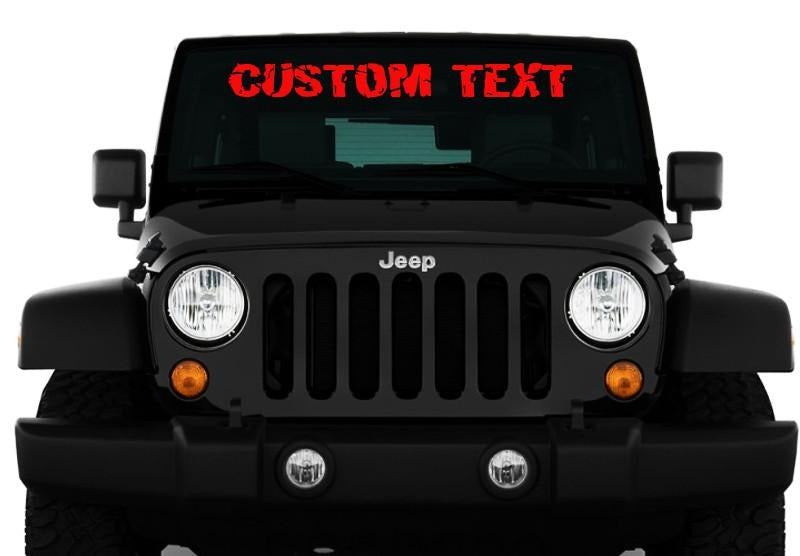 JEEP Custom Text Windshield Decal - ztr graphicz