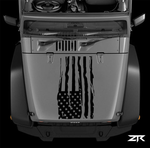JEEP United States Distressed Flag Hood Decal - ztr graphicz
