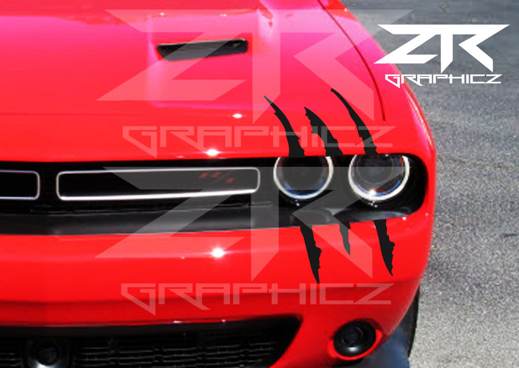 dodge challenger headlight claw scratch mark decal graphic sticker ztr graphicz. Black Bedroom Furniture Sets. Home Design Ideas