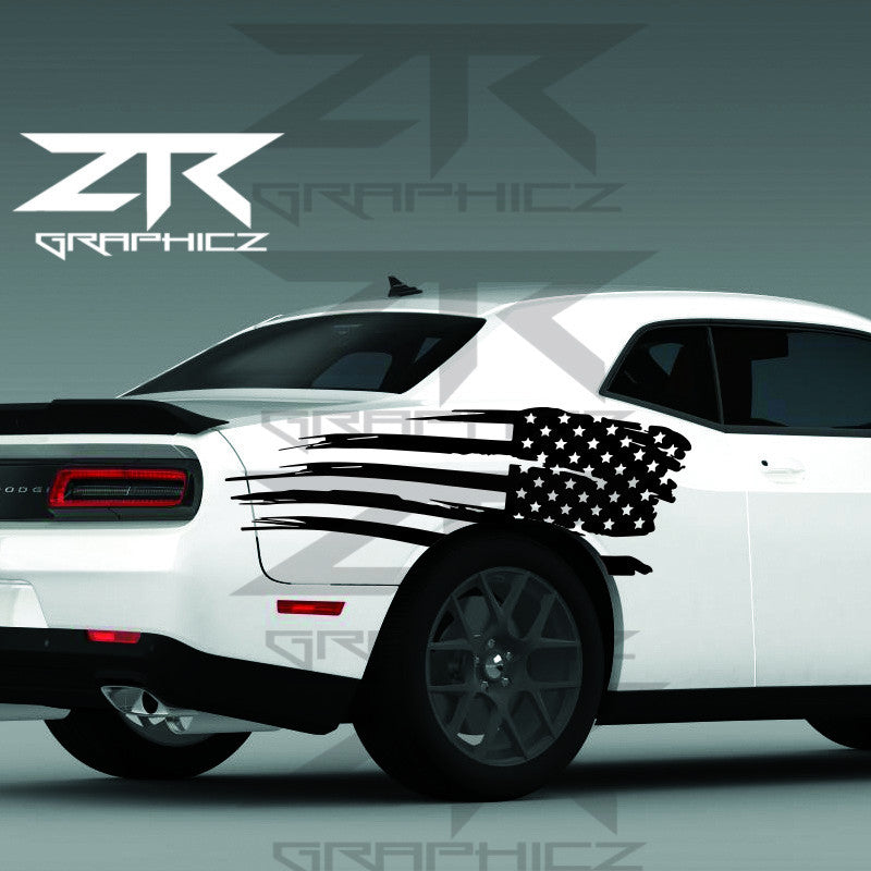 2011-2016 Dodge Challenger Distressed American USA Flag Quarter Panel Decal