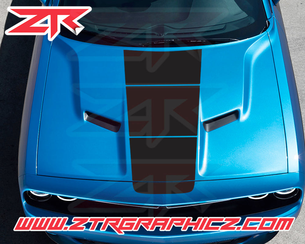2015-2019 Dodge Challenger Custom Gradient Hood OEM Racing Stripe Decal