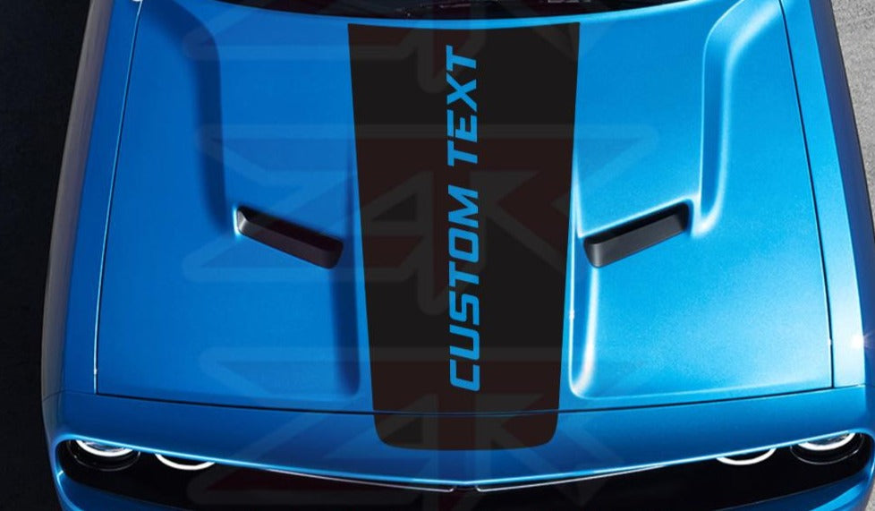 2015-2019 Dodge Challenger Custom Text Hood OEM Racing Stripe Decal