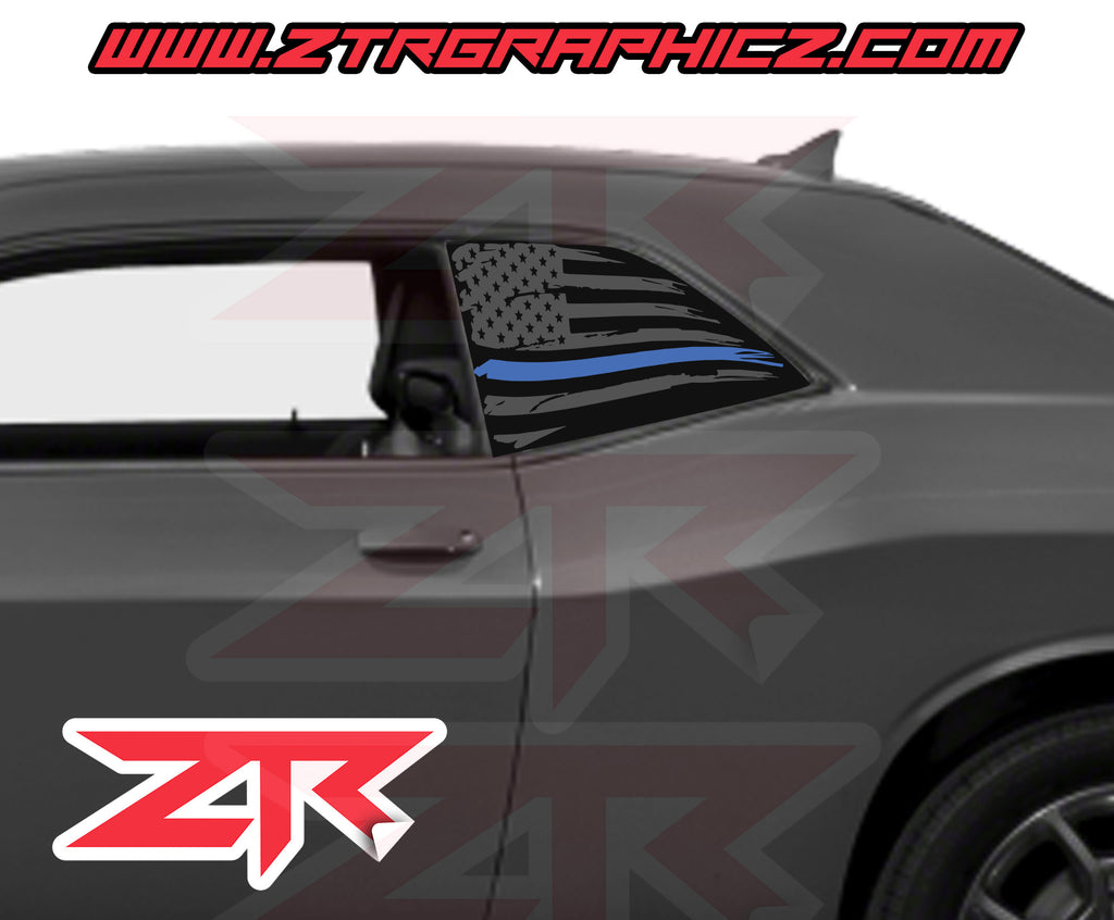 Dodge Challenger Distressed American Blue Line Police Support Flag Window Decal