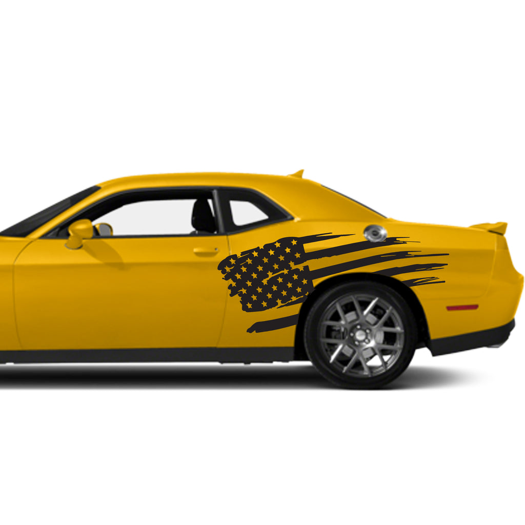 Dodge Challenger Distressed American USA Flag Quarter Panel Decal