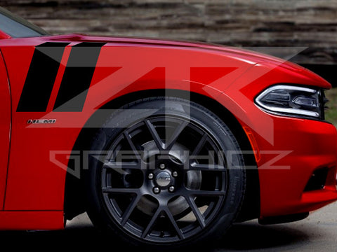 Dodge Charger Dual Fender Stripe, Hash Mark,  Stripe Decal Graphic Kit RT SRT - ztr graphicz