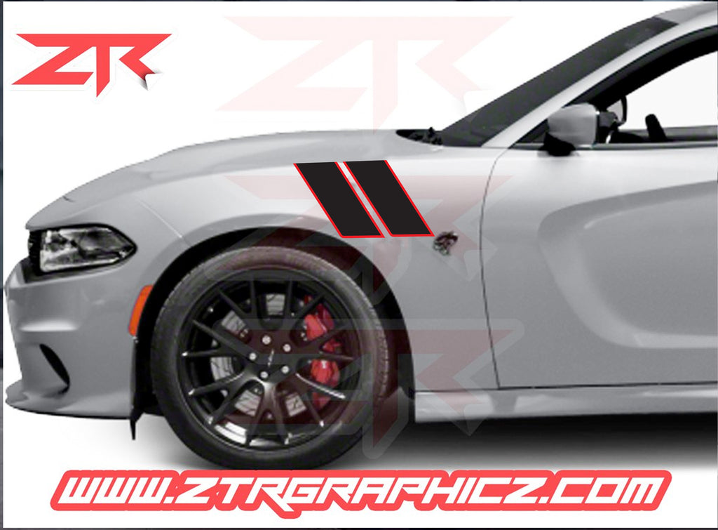 Dodge Charger Custom Dual Fender Outlined Stripes Hash Marks Stripes Ztr Graphicz